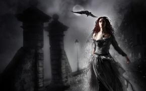 Picture girl, night, fiction, bird, dress, art, lights, Raven, red hair