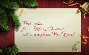 Picture holiday, spruce, branch, Christmas, bells, words, congratulations