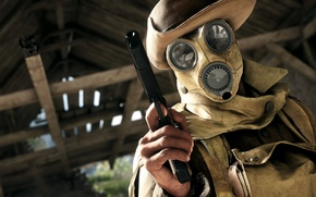 Picture look, art, abstraction, scout, gas mask, gun, hat, mask, Battlefield 1, Colt M1911, goal, wallpaper., ...