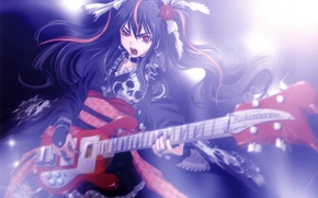 Picture girl, skull, guitar, cross, chain, concert, red eyes, long hair, ruffles, singing