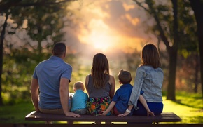 Picture sunset, children, bench, Family, parents