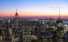 Picture Sunset, The sky, Clouds, The evening, New York, Lights, The city, Manhattan, Skyscrapers, Building, USA, ...