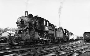 Picture retro, train, black and white, railroad