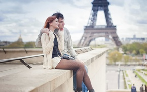 Picture city, girl, Paris, love, woman, France, man, boy, mood, hug, Eiffel Tower, feeling, cityscape, La …