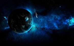 Picture space, blue, planet, stars, asteroids