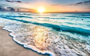 Wallpaper sand, sea, the sun, dawn, shore, horizon, Mexico, surf, Cancun