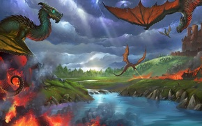 Picture fantasy, flame, dragon, wings, art, flight