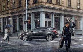 Picture auto, people, rain, The city, the shower, Cadillac-XT5-Platinum.