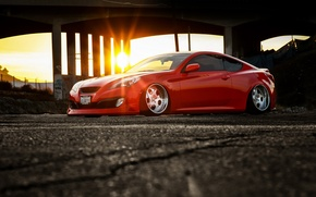 Picture car, tuning, red, tuning, rechange, stance, hq Wallpapers, Hyundai Genesis