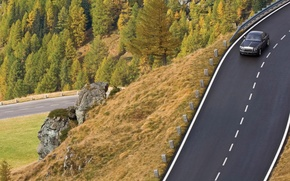 Picture road, trees, landscape, machine, nature, stones, the descent, view, road markings, rolls-royce