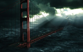 Wallpaper destruction, wave, Bridge, disaster