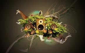 Wallpaper animals, Collage, speakers