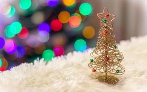Picture Shine, tree, new year, fur, bokeh