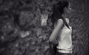 Picture girl, background, wall, black and white, Wallpaper, mood, hair, brunette