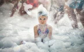 Picture foam, girl, bath
