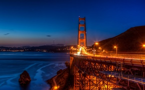 Picture bridge, night, san francisco, golden gate, blue hour