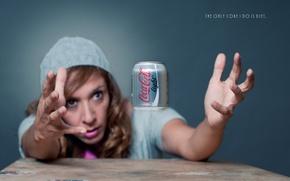 Picture girl, thirst, hands, Coca-Cola, Coca-Cola Light