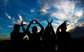 Picture love, hands, love, the word, people, hands, letters, silhouettes