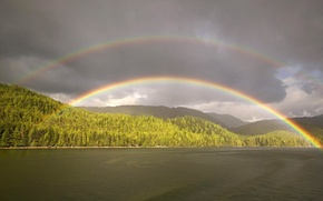 Wallpaper rainbow, pond, clouds, forest