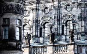 Picture windows, wall, stone, balcony, statues