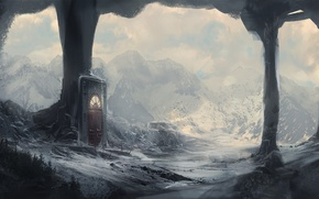 Picture winter, snow, mountains, the portal, the door, art, columns, the grotto, kingcloud
