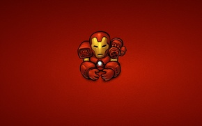 Picture red, steel, minimalism, iron man, marvel, comic, iron man