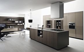 Picture design, style, furniture, interior, TV, chairs, plate, table, interior, cabinets, hood, kitchen, books., desigen, kitchen