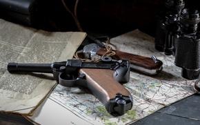 Picture gun, map, newspaper, binoculars, Parabellum, P08, Luger, Luger
