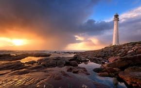 Picture sea, beach, sunset, lighthouse
