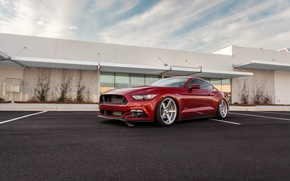 Picture Mustang, Ford, Red, Parking, 2015