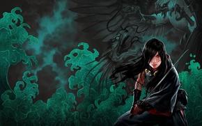 Picture look, girl, fog, eagle, blood, dragon, figure, sword, fantasy, art, tattoo, girl, sword, blood, battle, …