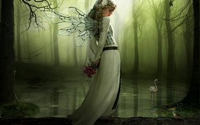 Picture forest, girl, flowers, lake, wings, log, views