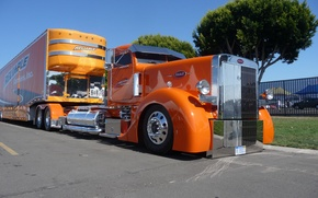 Wallpaper custom, cabin, reliable, big rig, peterbilt, orange, truck