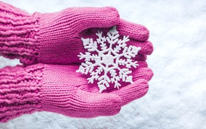Picture winter, snow, hands, snowflake, mittens