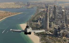 Picture flight, the city, fighter, Dubai, generation, multipurpose, Eurofighter Typhoon, fourth