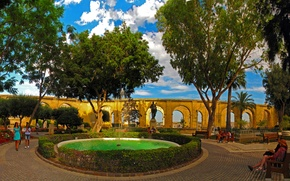 Picture nature, Park, photo, fountain, the bushes, Malta, Valletta