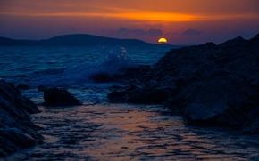 Picture twilight, sea, sunset, rocks, hills, dusk, wave, blue hour, silhouettes