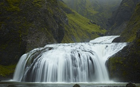 Picture green, waterfall, iceland