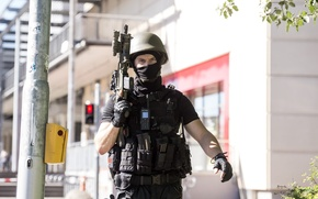 Picture soldier, military, pearls, assault rifle, uniform, equipment