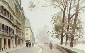 Picture picture, watercolor, the urban landscape, Edward Seago, Nov. Ile-de-La-La enough. Paris