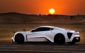 Picture sunset, desert, Zenvo ST1