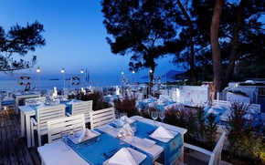 Picture sea, the evening, restaurant, resort, Anchor restaurant