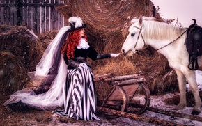 Picture girl, snow, horse, hair, horse, hat, hay, outfit, red, veil, lady, lady