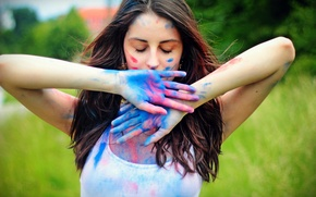 Picture girl, paint, hands