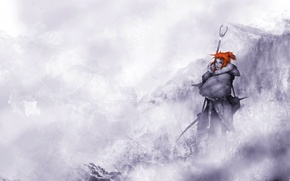 Picture winter, forest, snow, mountains, red, Game of Thrones, Ygritte