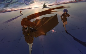 Wallpaper the wind, cloak, Girls, the sky, amulet, building, the city