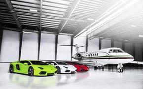 Picture Lamborghini, The plane, Red, Hangar, Green, White, LP700-4, Aventador, Supercars, Flag, Supercars, Italian, Plane