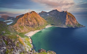 Picture sea, mountains, the evening, Norway