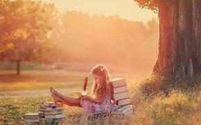 Picture summer, pen, books, girl, creativity, The Letter