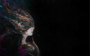 Wallpaper girl, feathers, mask, art, profile, black background
